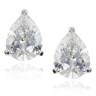 Journee Collection Silver-tone Cubic Zirconia Teardrop Stud Earrings