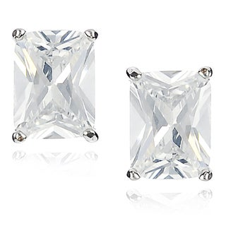 Journee Collection Brass Cubic Zirconia Rectangle Stud Earrings