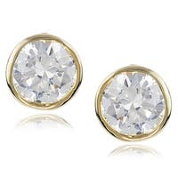 Journee Collection Silver-tone Cubic Zirconia Stud Earrings