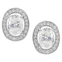 Journee Collection Silver-tone Cubic Zirconia Oval Stud Earrings