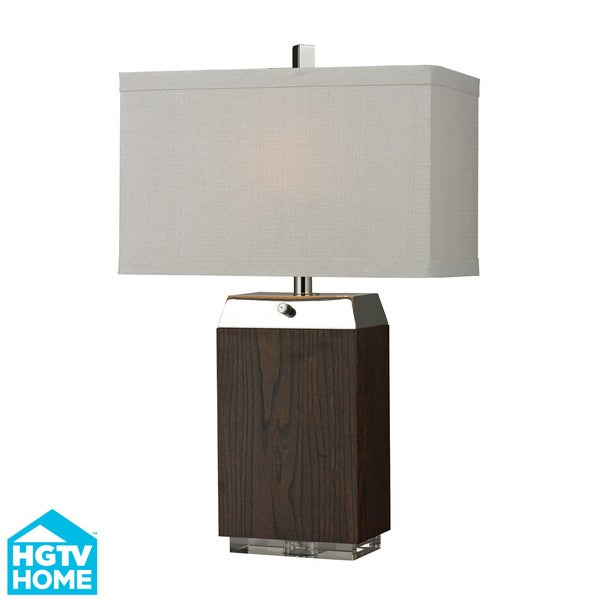 HGTV HOME Poli Nickel Accent Wood VeneerTable Lamp