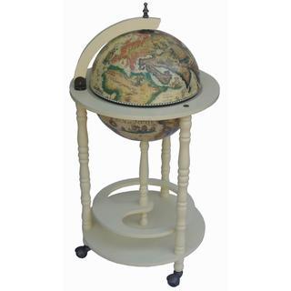 Classic 16th Century Italian Style 20 -inch Diameter White Floor Globe Bar