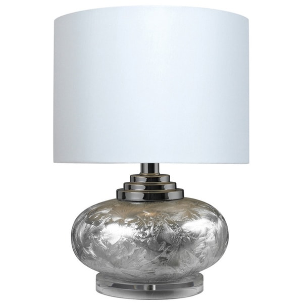 Ceramic with Acrylic Base 1-light Frosted Table Lamp - Silver