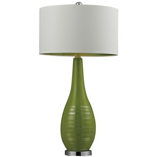 Silver Accented Green Ceramic Table Lamp
