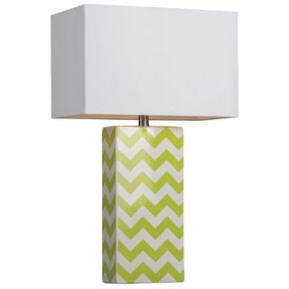 Green and White Chevron Ceramic Table Lamp