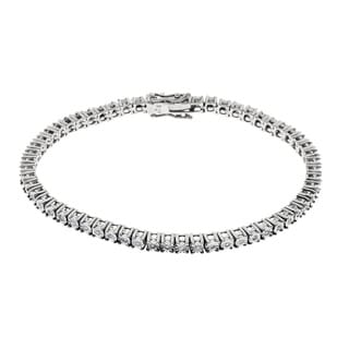 Sterling Silver 1/2ct TDW Illusion Set Round Diamond Tennis Bracelet