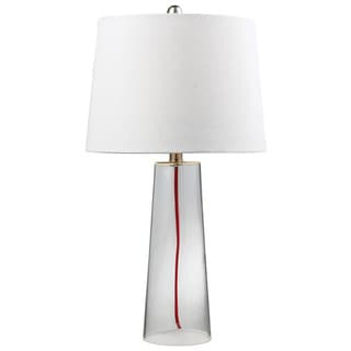 Glass Bottle with Red Cord 1-light Clear Table Lamp