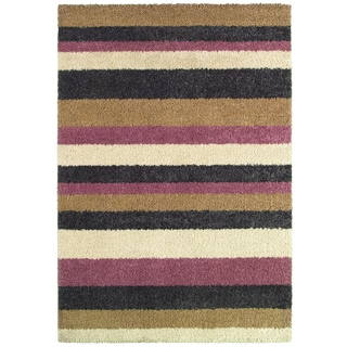 Moonwalk Celestial Stripes/ Cream-Cameo Rose Power-loomed Rug (1'8 x 3'7)