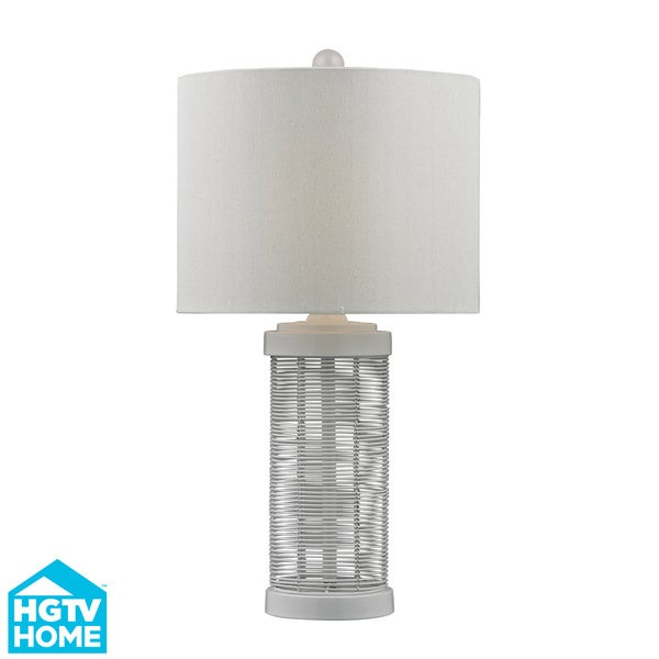 HGTV HOME 1-Light Gloss White Wire Base Table Lamp