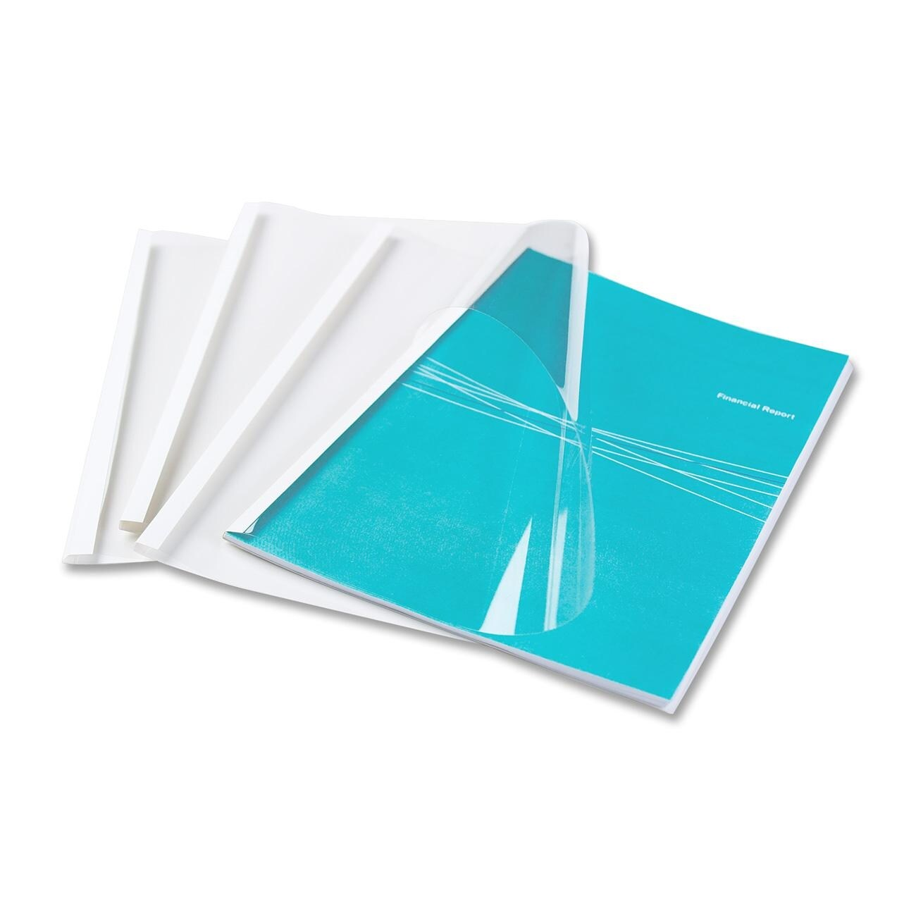 """Fellowes Thermal Presentation Covers - 1/4"""", 60 sheets, White"""