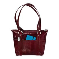 Women's David King Leather 3543 Florentine 6 Pocket Shopper Cherry