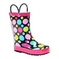 Girls' Western Chief Dot Party Rain Boot Black/Dots