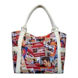 Women's Elvis Presley Signature Product Elvis Presley Collage Large Tote EL2324 White
