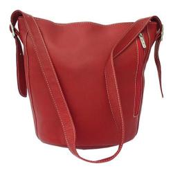 Women's Piel Leather Bucket Bag 9707 Red Leather