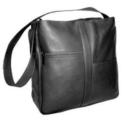 Women's David King Leather 820 Double Top Zip Shoulder Bag Black
