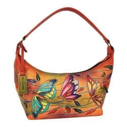 Women's Anuschka Medium Top-Zip Hobo Angel Wings Tangerine