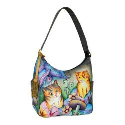 Women's Anuschka Hobo with Side Pocket Cats in Wonderland