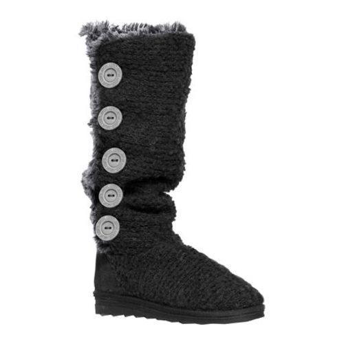 MUK LUKS Women's Malena Crotchet Button Up Boot Black