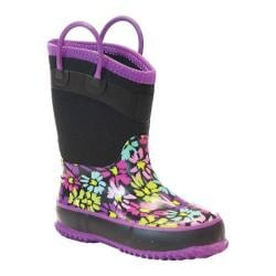 Girls' Western Chief Daisy Shower Neoprene Boot Charcoal