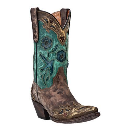 Women's Dan Post Boots Vintage Blue Bird DP3544 Sanded Chocolate Leather