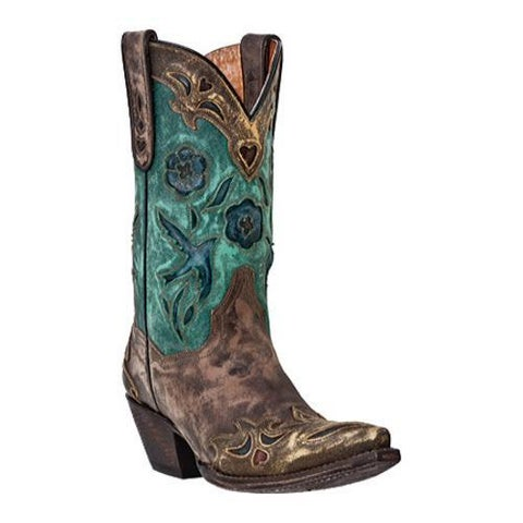 Women's Dan Post Boots Vintage Blue Bird DP3544 Sanded Chocolate Leather