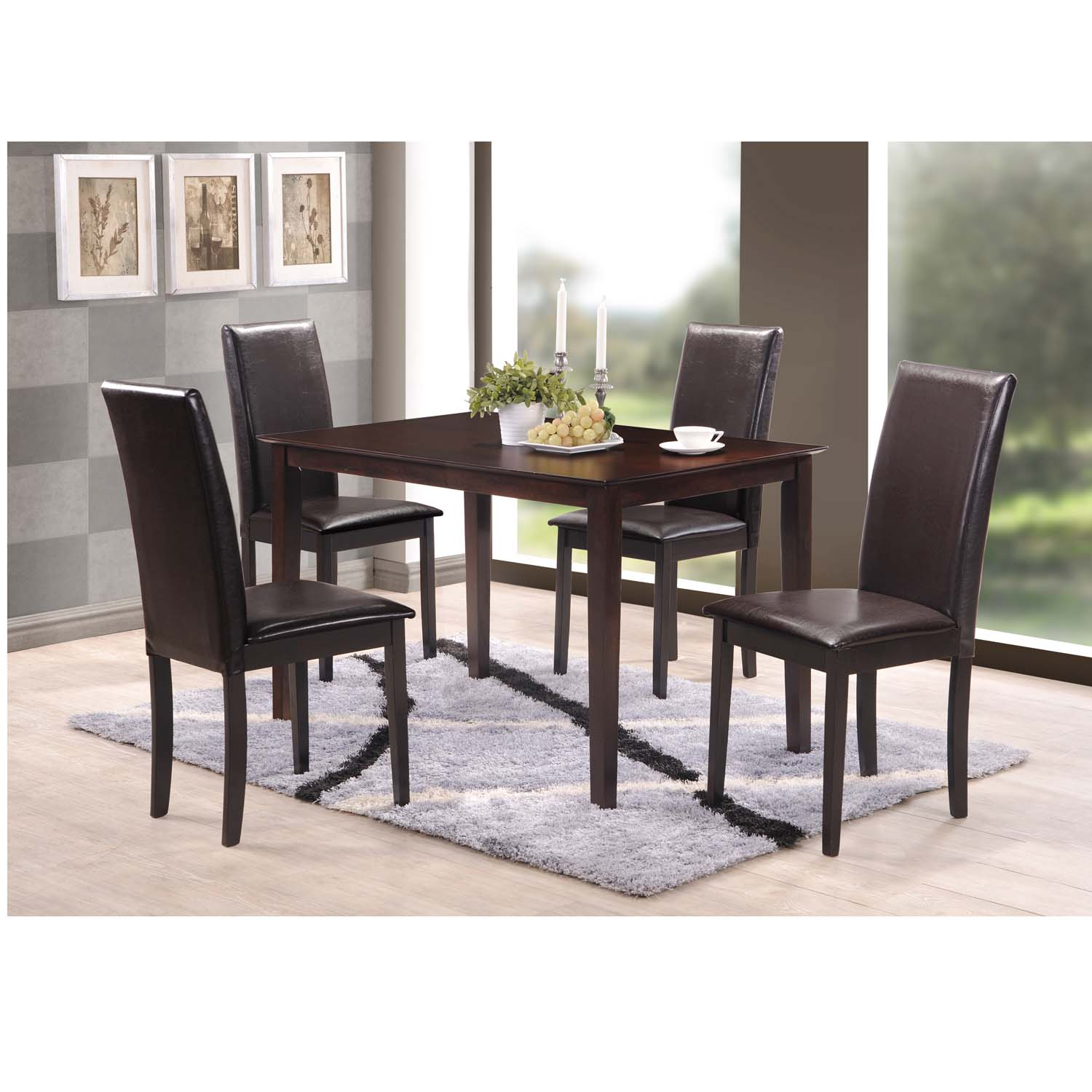Sweden Piece Dark Brown Modern Dining Set Free Shipping Today - Modern dining room table sets