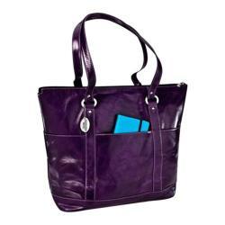 Women's David King Leather 3583 Florentine Large Multi Pocket Purple