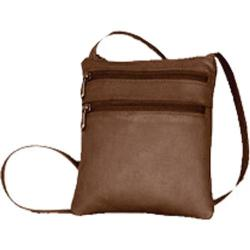 Women's David King Leather 734 3 Zip Cross Body Bag Cafe