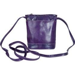 Women's David King Leather 3512 Florentine Top Zip Mini Bag Purple