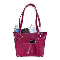 Women's David King Leather 3543 Florentine 6 Pocket Shopper Fuschia