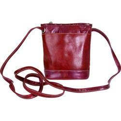 Women's David King Leather 3512 Florentine Top Zip Mini Bag Cherry