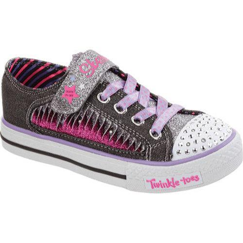 159c99a0178b Shop Girls  Skechers Twinkle Toes Shuffles Playground Glam Black Purple -  Free Shipping Today - Overstock - 9646342