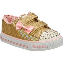 Girls' Skechers Twinkle Toes Shuffles Sweet Steps Gold/Pink
