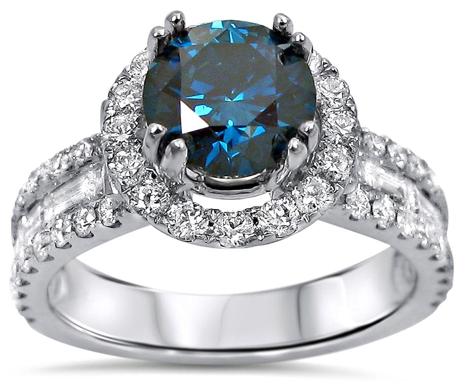 Noori 18k White Gold 2 1/5ct TDW Round Blue Diamond Engagement Ring (VS2/SI1)