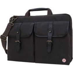 Token Waxed Knickerbocker Laptop Bag 15in Dark Brown/ Black