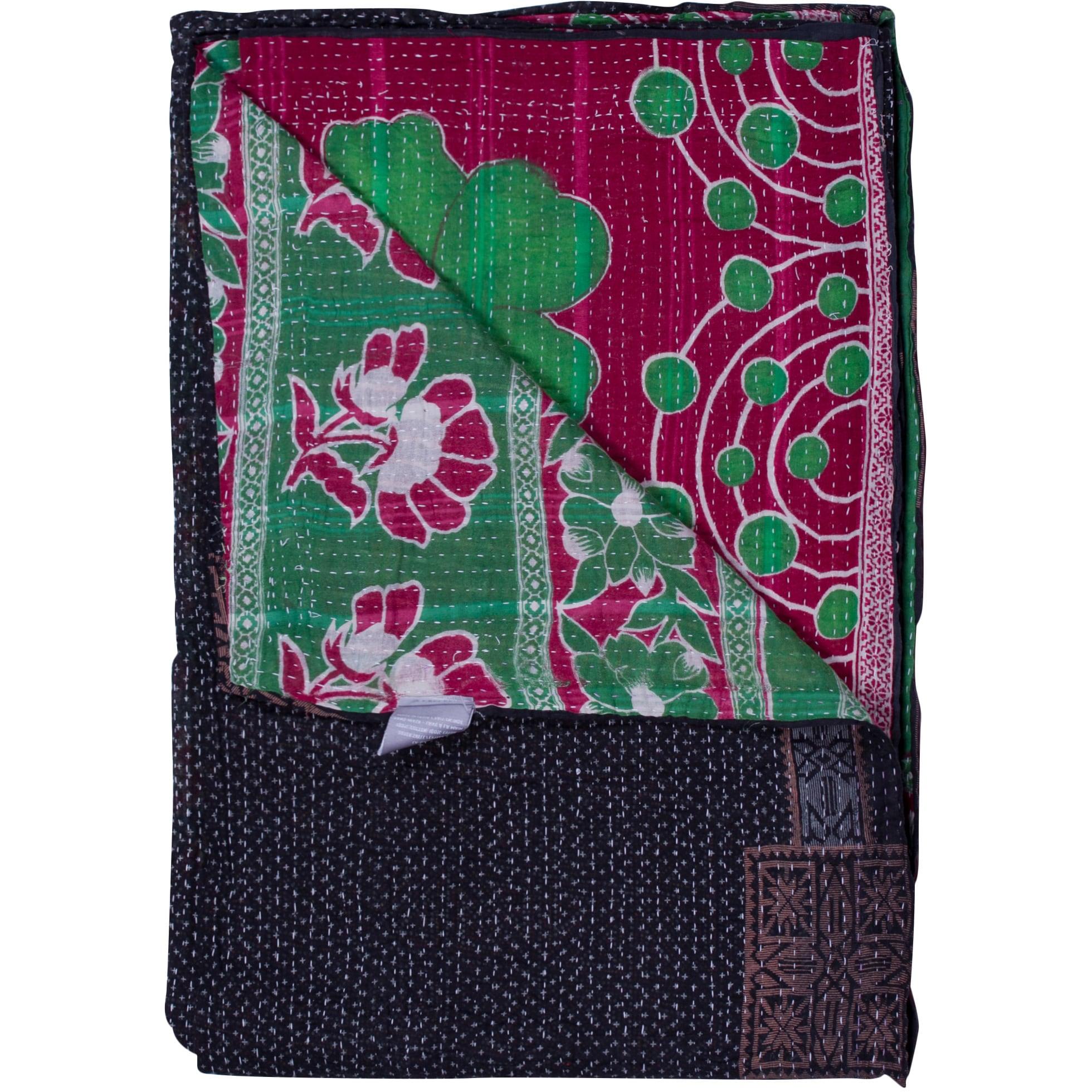 Taj Hotel Vintage Handmade Kantha Navy/ Pink Rectangular Throw Blanket
