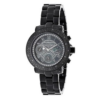 Luxurman Women's Black Water-resistant Diamond Watch Metal Band plus Extra Leather Straps