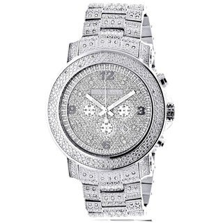 Luxurman Men's Oversized Diamond Watch Metal Band plus Extra Leather Straps