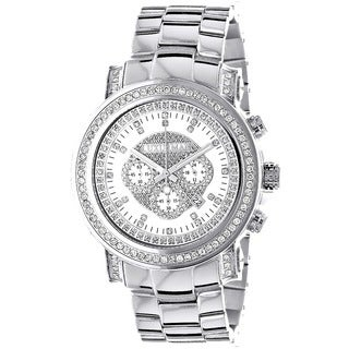 Luxurman Men's Diamond and Stainless Steel Watch with Metal Band and Extra Leather Straps