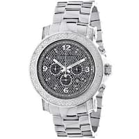 Luxurman Men's Oversized Diamond Watch with Metal Band with Extra Leather Straps