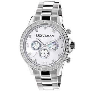 Luxurman Men's Limited Edition Stainless Steel Diamond Accent Quartz Watch Metal Band plus Extra Lea