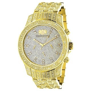 Luxurman Men's Goldtone Stainless Steel Diamond Accent Japanese Quartz Watch Metal Band plus Extra L