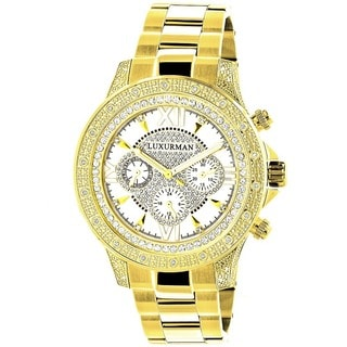 Luxurman Men's Goldplated Stainless Steel Diamond Accent Quartz Watch Metal Band plus Extra Leather