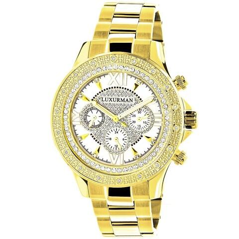 Luxurman Men's Goldtone Stainless Steel Diamond Accent Chronograph Quartz Watch