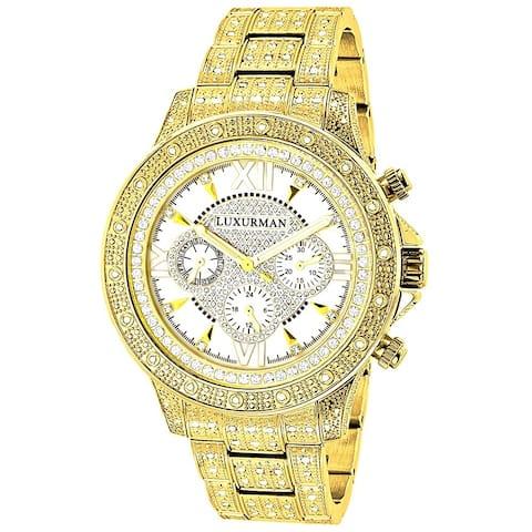 Luxurman Men's Goldtone Stainless Steel Diamond Accent Quartz Watch Metal Band plus Extra Leather St