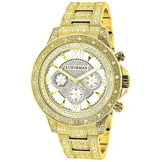 Luxurman Men's Goldtone Stainless Steel Diamond Accent Quartz Watch Metal Band plus Extra Leather St