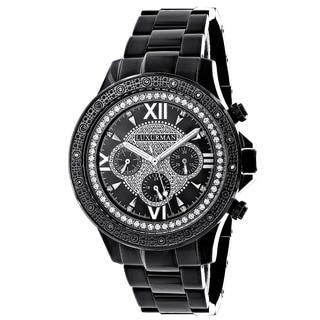 Luxurman Men's Black Stainless Steel Diamond Accent Quartz Watch Metal Band plus Extra Leather Strap