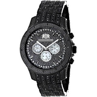 Luxurman Men's Black Stainless Steel Diamond Accent Quartz Watch Metal Band plus Extra Leather Strap