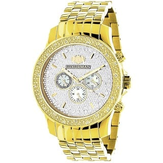 Luxurman Men's Yellow Goldtone Diamond Watch Metal Band plus Extra Leather Straps