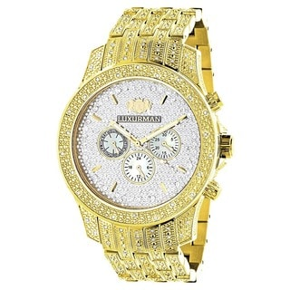 Luxurman Men's Yellow/Goldtone Diamond Watch Metal Band plus Extra Leather Straps